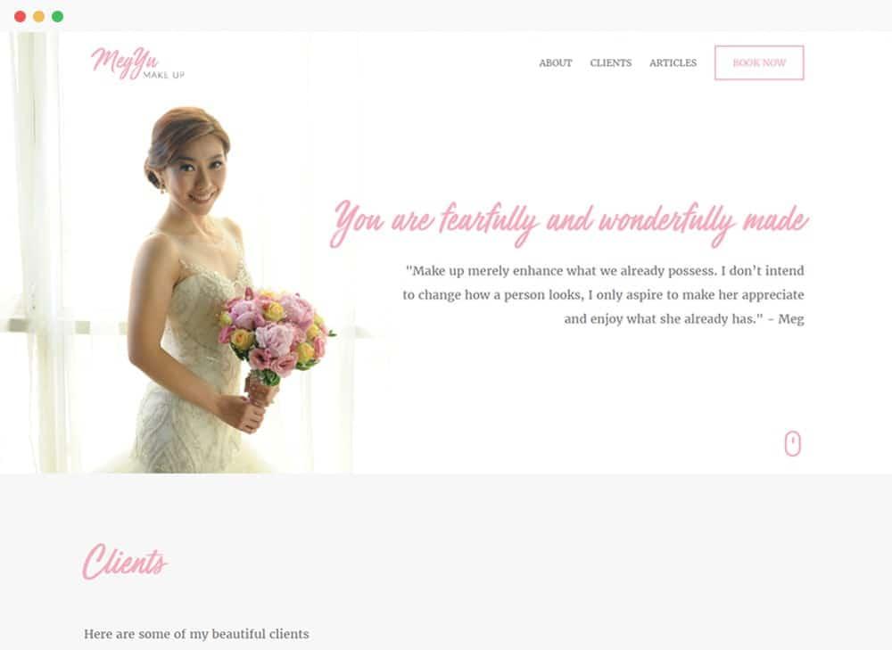 Meg Yu Make Up Site Preview