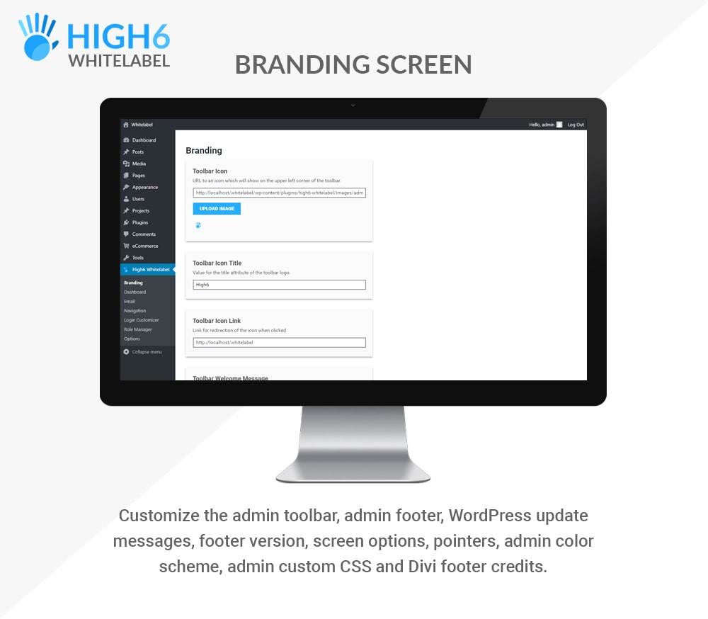 High6 Whitelabel Branding Screen