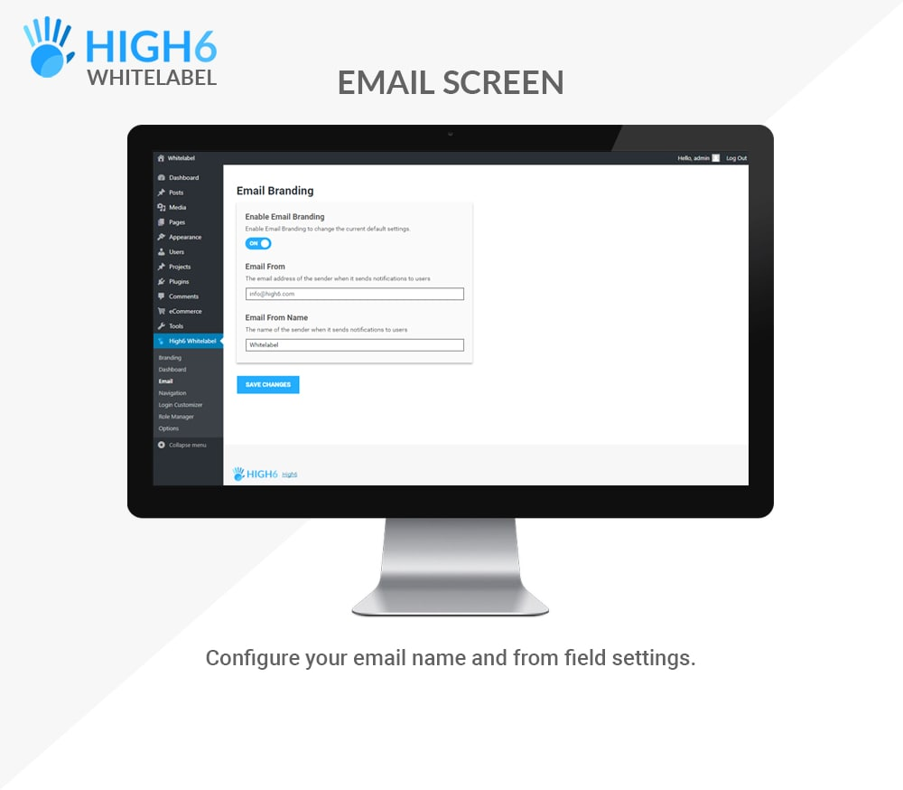 High6 Whitelabel Email Screen