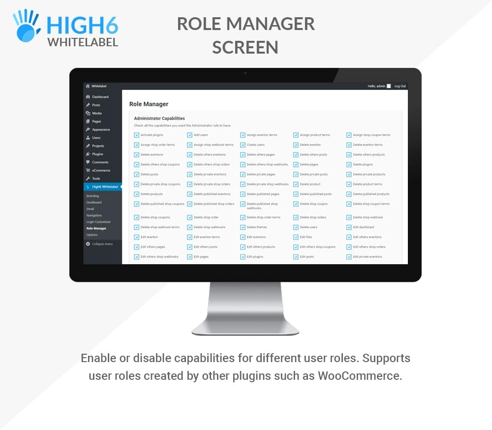 High6 Whitelabel Role Manager Screen